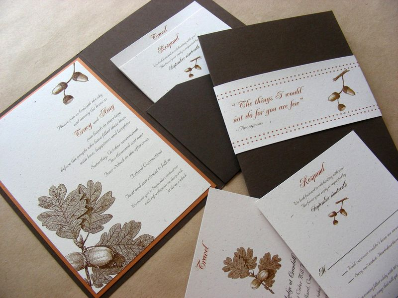 The invitation has an acorn theme is comprised of a matte chocolate brown