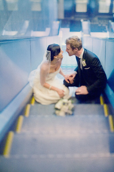 Bride groom escalator Nicole Polk