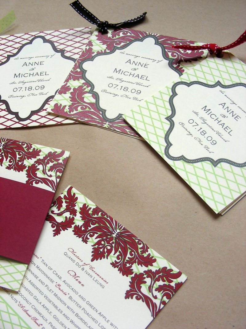 Red Damask Wedding Program