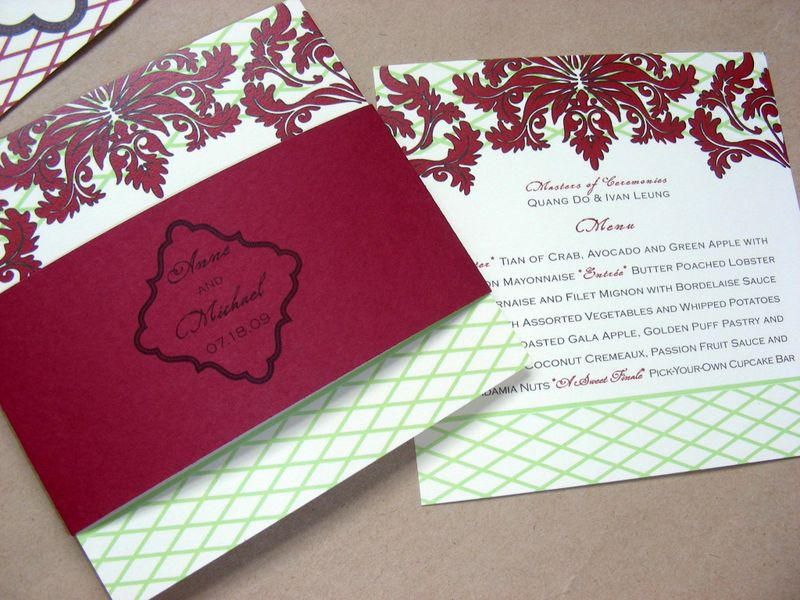 Red Damask Wedding menu with belly band