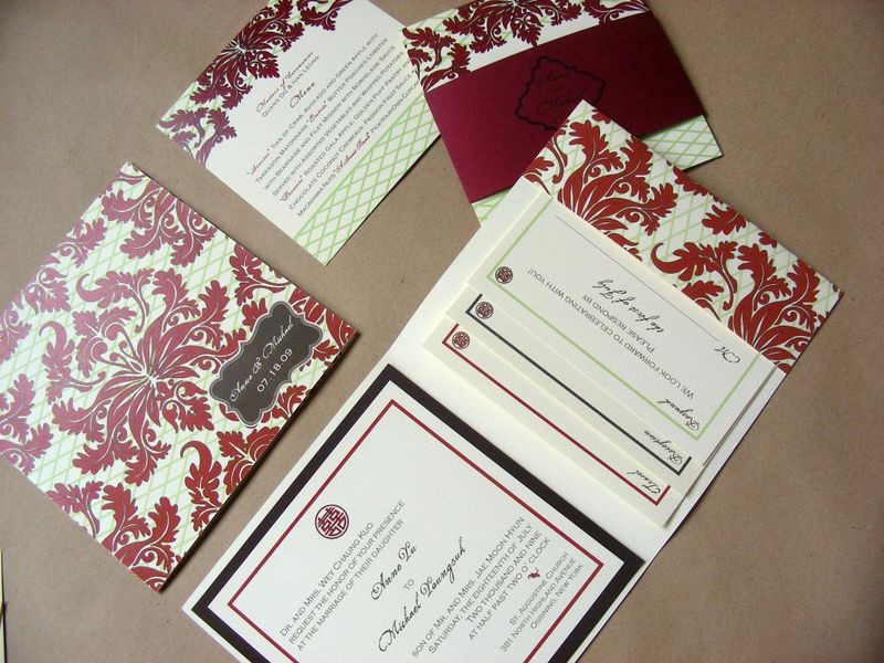 Red Damask Wedding Invitation