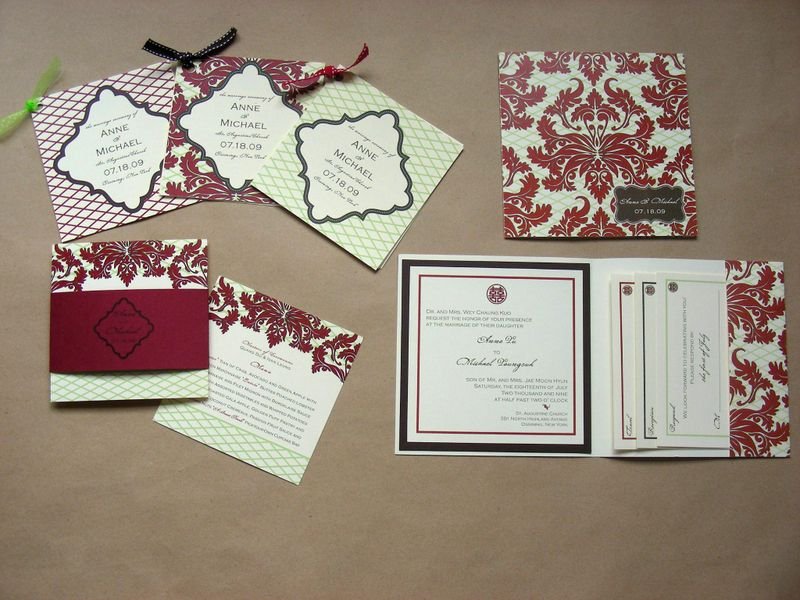 Red Damask Wedding Invitation Suite