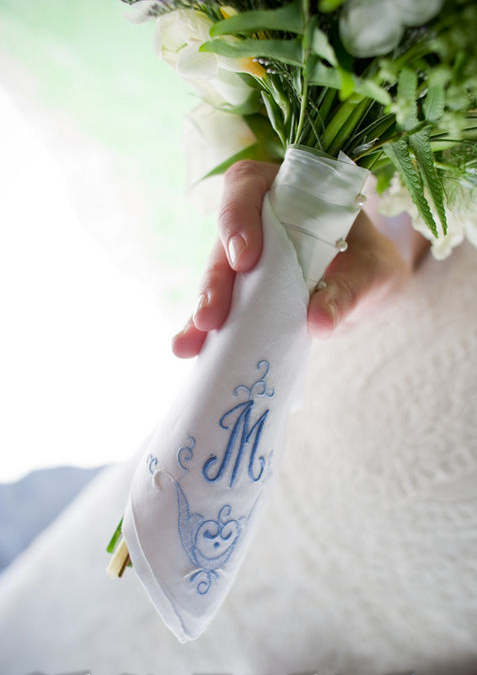 Bouquet with vintage hankie