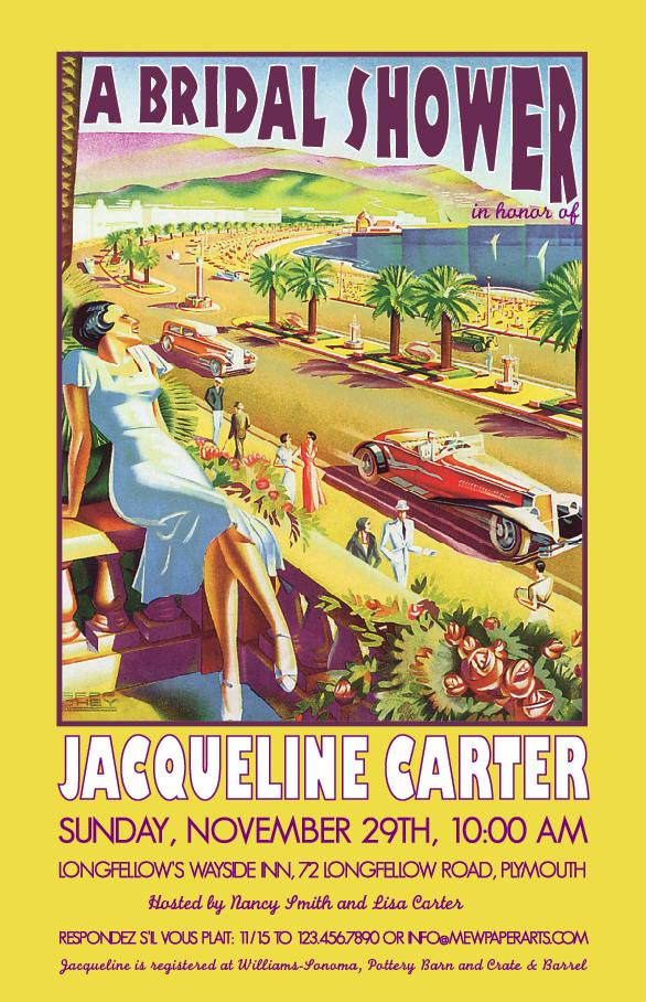 Vintage travel poster Nice France Bridal Shower invitation