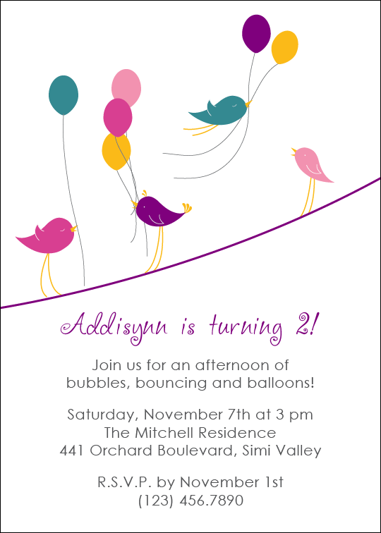 Kid's party invite balloons birds