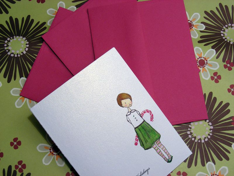 handmade holiday card candy cane girl illustration